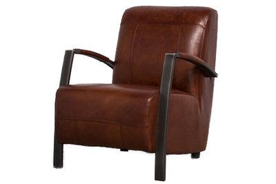 como, fauteuil, industrieel, industriele, fauteuils, leder, leer, kubus, wonen, como, stoel, light brown, bruin,