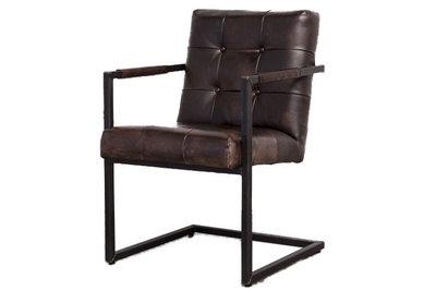 blended, eetkamerstoel, stoel, industrieel, leder, leer, kubus, wonen, cognac, 391,