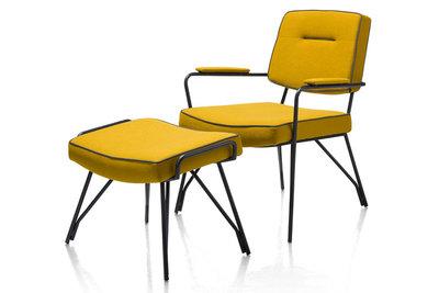 fauteuil bruce happy at home kubus wonen culemborg fauteuils stoelen lounge stoel stof lanan oker geel meubelstad culemborg